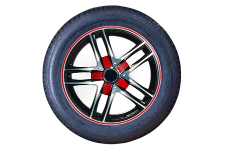 Car tire with rim on a white background Stock Photo
