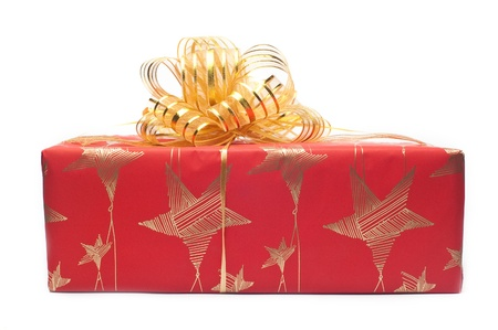 Box with gifts decorated by a holiday on a white background Stock Photo - 12170978