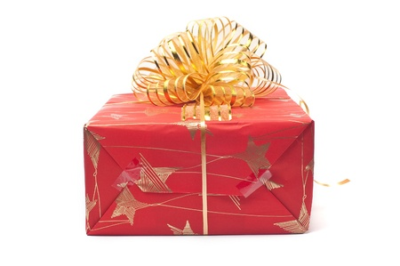 Box with gifts decorated by a holiday on a white background Stock Photo - 12170977