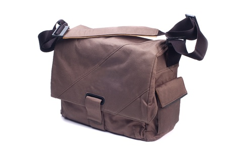 Photo d'un sac moderne � la mode avec une longue ceinture sur un fond blanc Banque d'images
