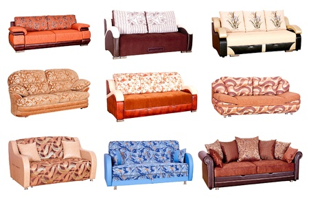 Variants of various sofas of bright colors on a white background photo