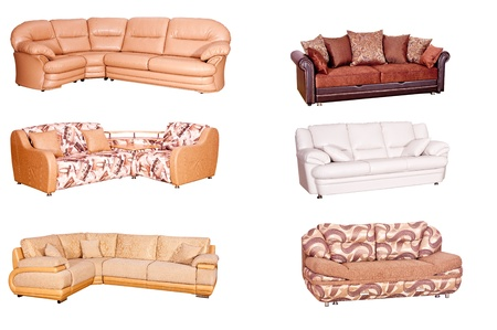 settee: Variants of various sofas of bright colors on a white background Stock Photo
