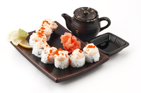 perch dried: Japanese sushi, sashimi and rolls on a white background Stock Photo