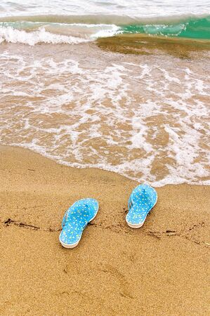 Beach slippers on seacoast with a turquoise wave
