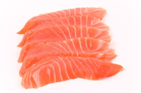 5 parts of fish of a salmon on a white background close up