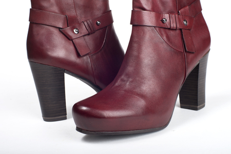 jackboot: Red female short boots on a white background
