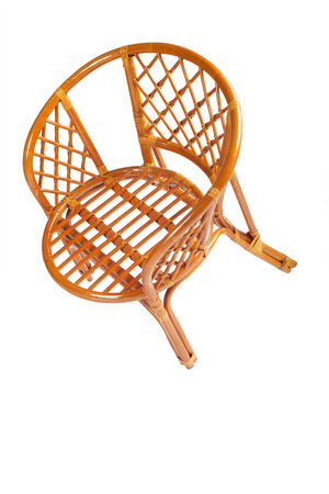 bast basket: Structure of weaving of furniture close up on a white background