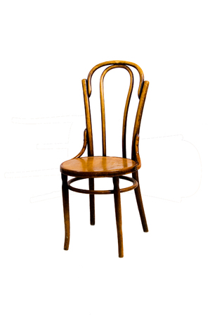 Viennese chair closeup. Isolated on white background