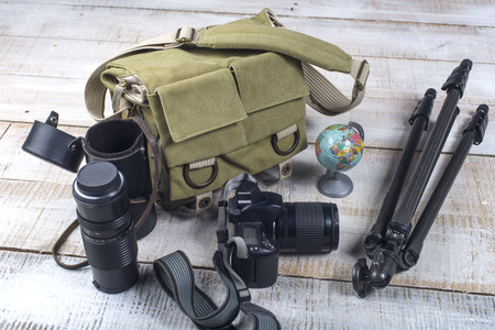 Bag and appliances for photography top view photo