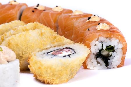 Japanese sushi on a white background closeup