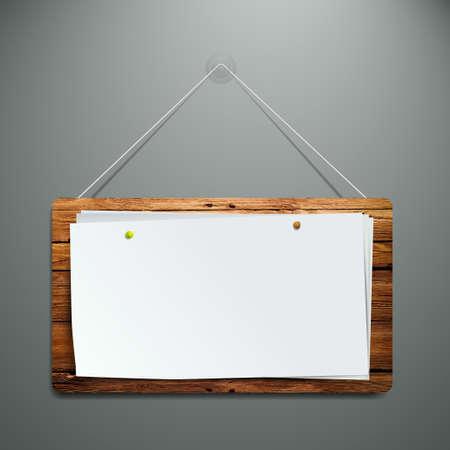 marco madera: realista rotafolio en la pared de madera listos para su texto