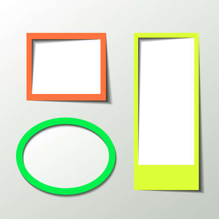 Paper 3D picture frame design for image or text Vector