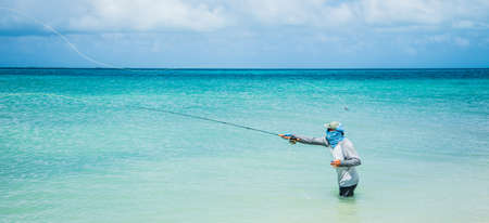 fly fisherman los roques venezuela Stock fotó
