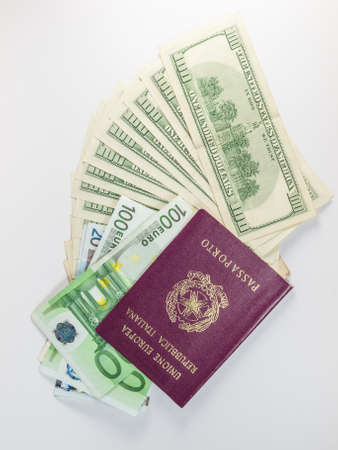 dollars and euro and passport