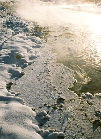 evaporation: Evaporation on the river during hard frost Stock Photo