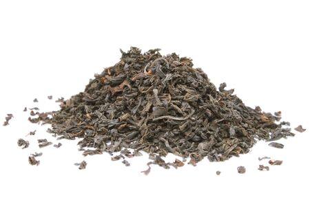 gunpowder tea: Black tea isolated on the white background.