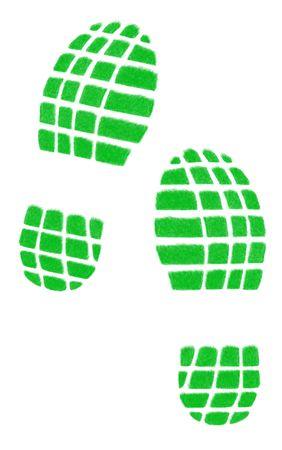shoeprint: Tracks isolated on the white background Stock Photo