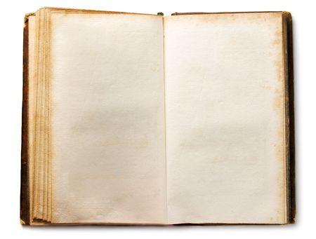 bordure de page: Ancien livre isol�e sur blanc