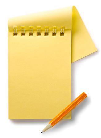 pencil paper: Bloc de notas aislada sobre el fondo blanco