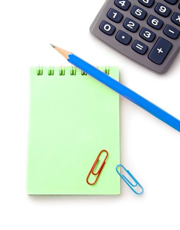 Notebook, pencil and calculator isolated on white background Stock Photo - 6993563