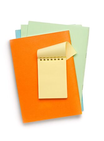 Notepads isolated on the white background photo