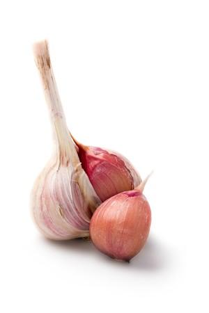 Garlic isolated on white background photo