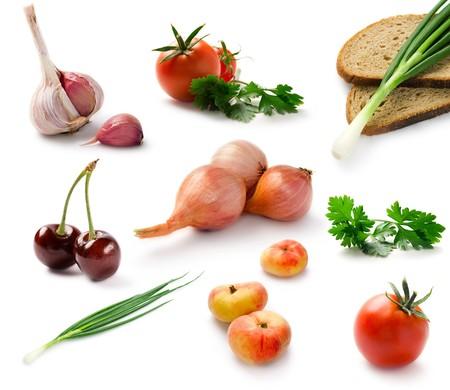 Set fresh vegetables isolated on white  photo