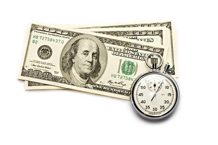 money and time: Dollar and clock isolated on white