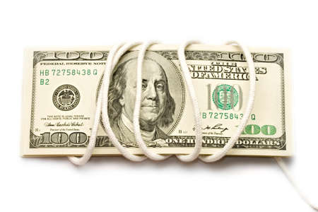 prudent: Dollars isolated on white