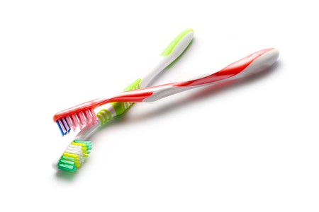 yellow teeth: Toothbrushes isolated on white Stock Photo