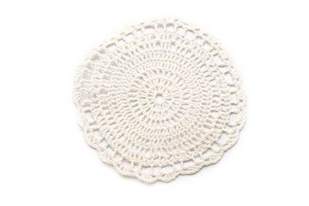 Crocheted lace isolated on white photo