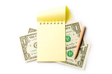 Notepad, pencil, dollar isolated on white Stock Photo - 8051639