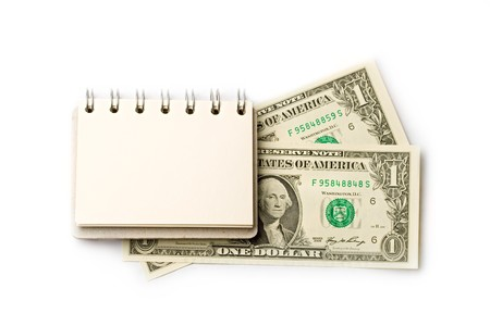 Notepad, dollar isolated on white  photo