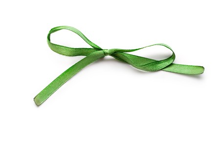Green bow isolated on white Stock Photo - 8051462
