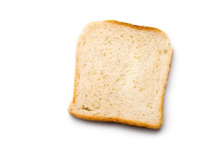 Bread slice isolated on white  Stock Photo