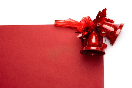 Red christmas bells isolated on white background  Stock Photo - 8213224