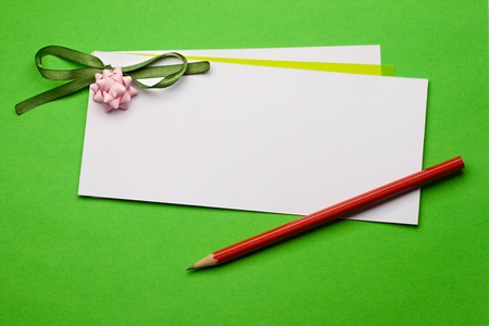Greeting card isolated on green Stock Photo - 8436361