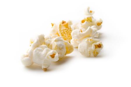 kernel: Popcorn isolated on white  Stock Photo