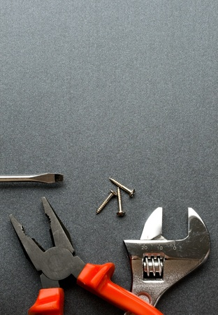 Tools isolated on grey photo