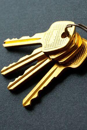 Bunch of keys isolated on grey photo