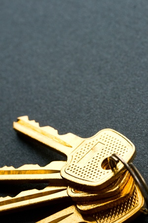 Bunch of keys isolated on grey photo