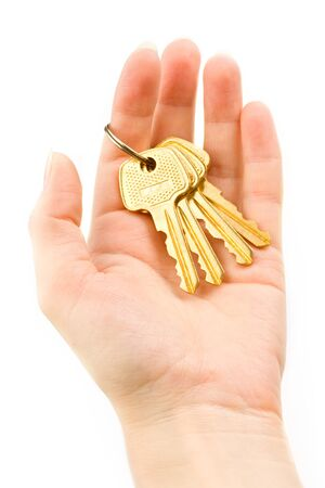 Hand with keys isolated on white Stock Photo - 8778766