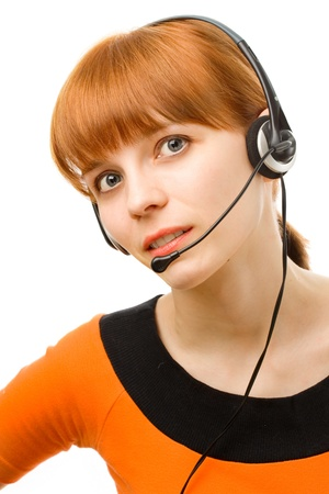 Portrait of a young female customer service operator on white background photo