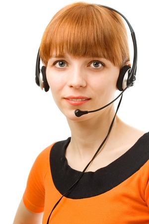 Portrait of a young female customer service operator on white background Stock Photo - 9261322