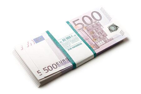 billets euros: Euros sur un fond blanc Banque d'images