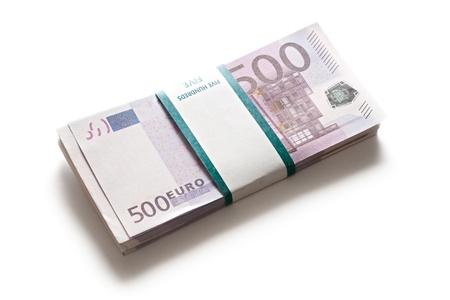 Pile of euros isolated on white background photo