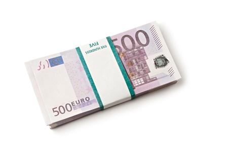 one hundred euro banknote: Pila de euros aisladas sobre fondo blanco Foto de archivo