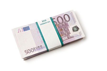 1 euro: Pile of euros isolated on white background