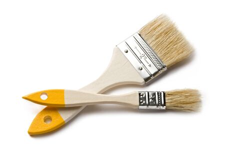 bristle: Paint brushes isolated on the white background