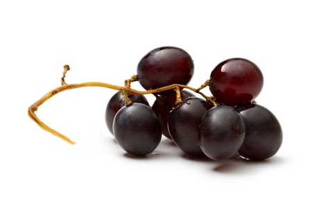 cluster: Black grape isolated on the white background
